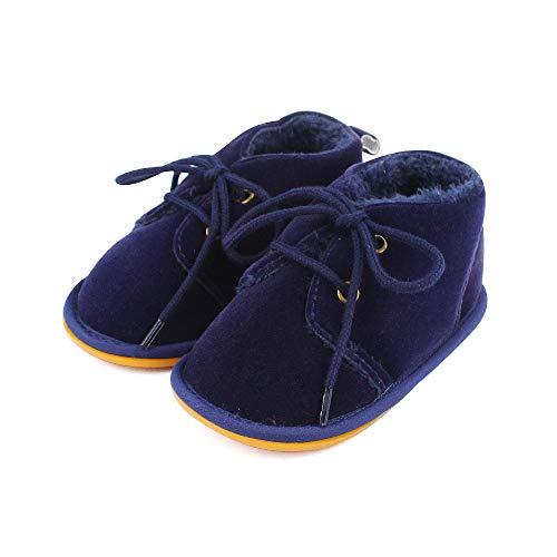 Lacofia Botas de Invierno de Suela de Goma para bebés niños o niñas Zapatillas de Deporte con Cordones para bebé Azul Marino 3-6 Meses