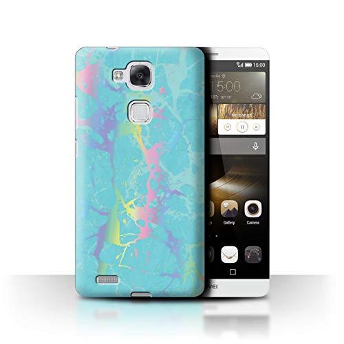 eSwish Hülle/Hülle für Huawei Ascend Mate7 / Aqua Blaugrün Regenbogen Muster/Farbe Holografisch Marmor Bewirken Kollektion