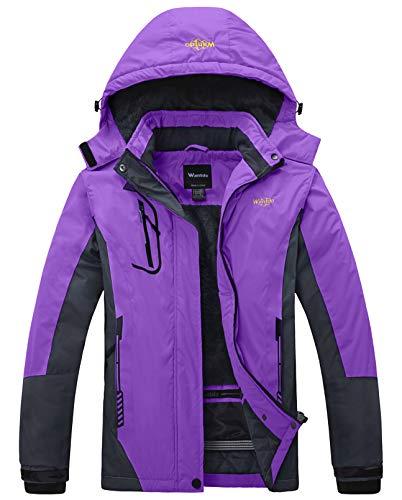 Wantdo Women s Waterproof Mountain Jacket Fleece Windproof Ski Jacket Purple US M Purple Medium