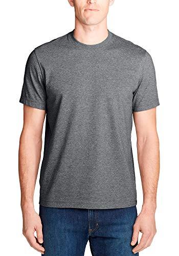 Eddie Bauer Herren Basic Legend Wash Pro Shirt - Kurzarm - Slim Fit T-Shirt Uni Mittelgrau meliert XL aus Baumwolle