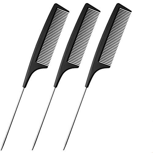 nuoshen 3 Pieces Fine Tooth Comb, Black Carbon Comb Professional Carbon Fibre Metal Pin Tail Comb Hair Comb Hairdresser's Pintail Comb