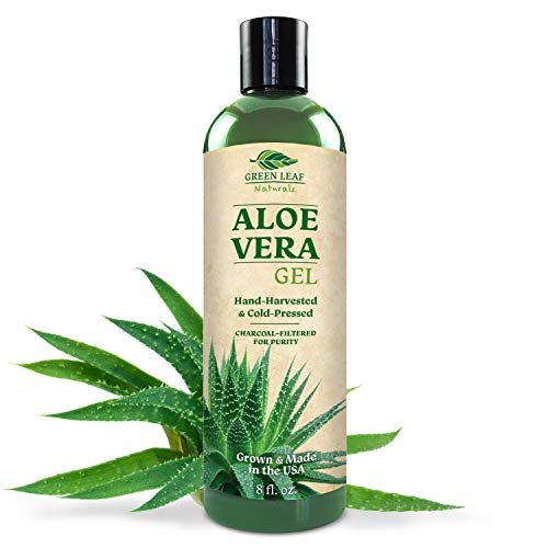Pure Aloe Vera Gel from Fresh Cut Aloe Leaves for Natural Skin Care - Thin Aloe Gel Formula for Skin, Face, Hair, Daily Moisturizer, Aftershave Lotion, Sunburn Relief, Burn Care - 8 ounce