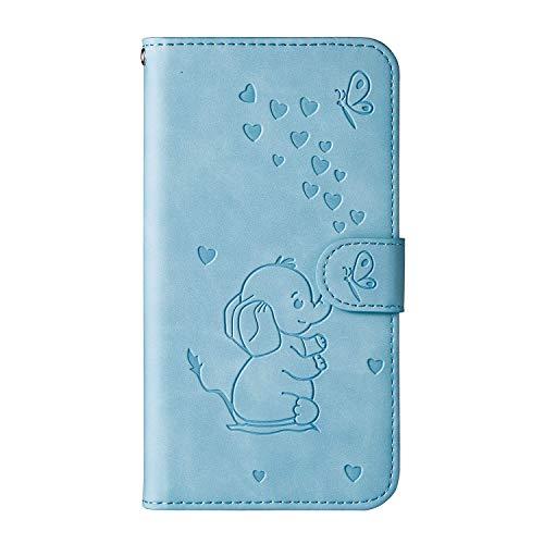 Annuo Handyhülle Samsung A10 Hülle Stoßfeste Brieftasche Muster Handytasche Samsung A10 etui flip case Wallet Schutzhülle Samsung Galaxy A10 Tasche Kartenfach Liebesherz Elefant Blau