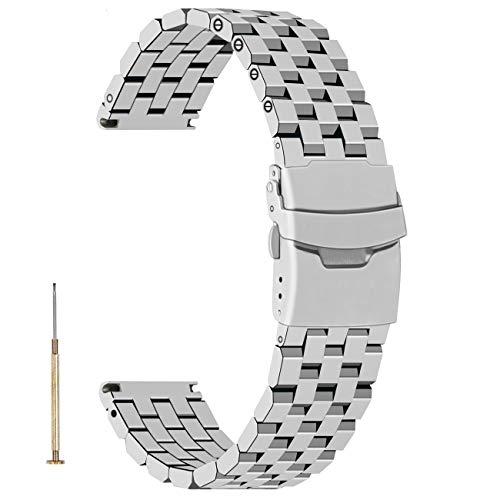 Juntan Correa de reloj plateada de acero inoxidable de 20mm para hombres y mujeres Correas reloj de ingeniero de metal cepillado con pulsador doble de metal Hebilla Plata