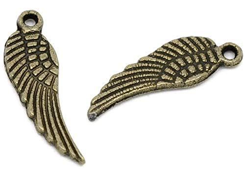SiAura Material, ciondolo, charm a forma di ala, 20 pezzi, 5 x 17 mm, color bronzo