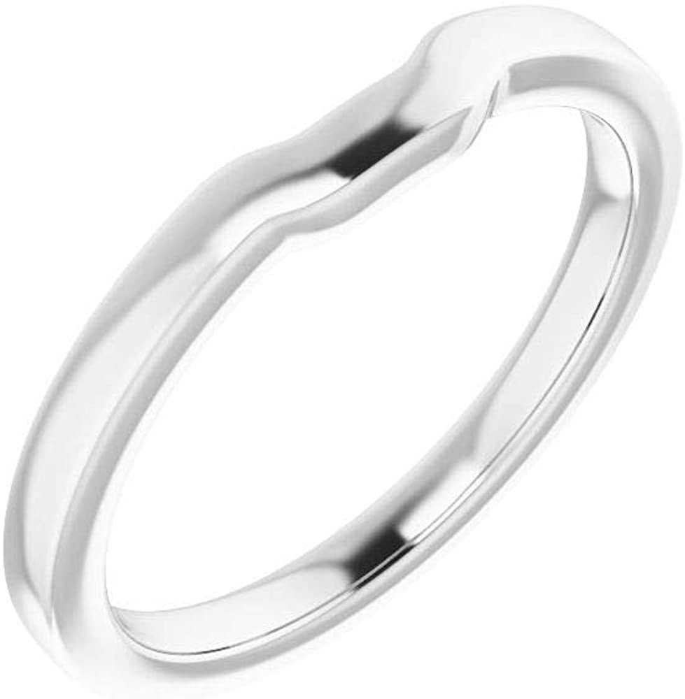 Solid 14K White Gold Curved Notched Wedding Band for 4mm Square Ring Guard Enhancer - Size 7