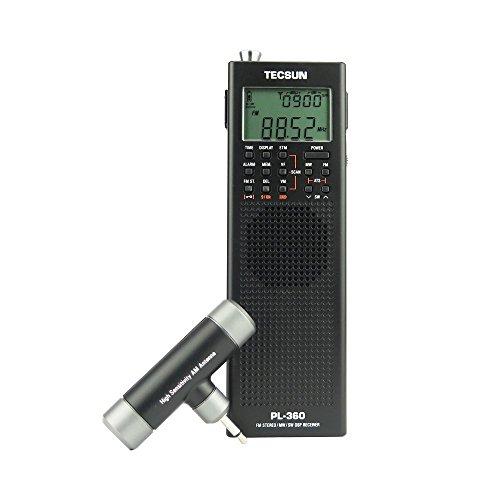 TECSUN Pl-360 Radio Digital PLL Portable Radio FM Stereo LW SW MW DSP Receiver (Black)