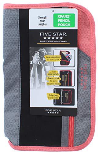Five Star Xpanz Zipper Carrying Case/Pouch for Pencil, Pen, Supplies - Puncture Resistant, Peach/Gray