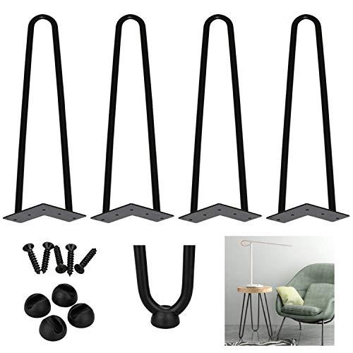 4er Hairpin Legs Tischbeine Austauschbare Haarnadelbeine mit Doppelstab Bodenschoner und Schrauben, 30cm(12 zoll)