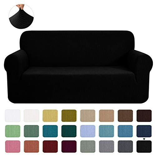 CHUN YI Stretch Loveseat Sofa Slipcover 1-Piece Couch Cover Furniture Protector,2 Seater Settee Coat Soft With Elastic Bottom,Checks Spandex Jacquard Fabric, Medium, Black