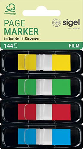 Sigel HN495 Z-Markers, Sticky Flags, Page Markers, Index Tab Flags, Film, Removable, Transparent with Colored Tips, 0.47 x 1.69 inches, 144 Stripes in a Convenient (Separable) Dispenser