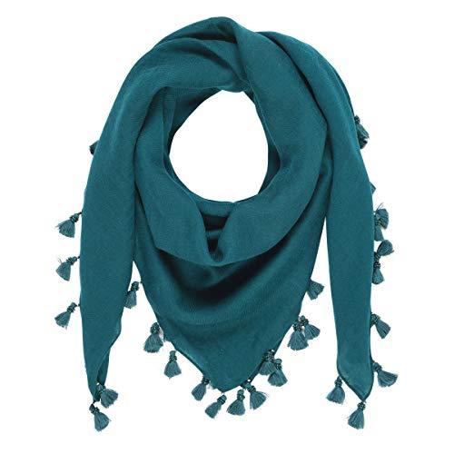 TIE RACK - Pañuelo liso con pompón y perlas 100% lana verde Talla única