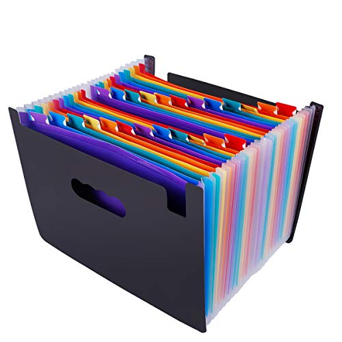 Multicolored Expanding Files Folder (24 Pockets) - CrazyLynX Portable A4 Expandable Accordion File Organizer, High Capacity Plastic File Wallets Stand Bag