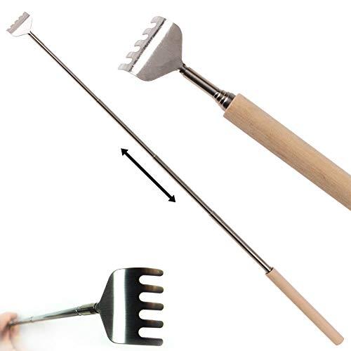 Preisvergleich Produktbild Rückenkratzer aus Metall mit Teleskopgriff aus Holz - ausziehbar 17-52 cm