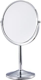 化粧鏡 卓上化粧鏡/ポータブル両面ミラー/ 2Xと拡大スポットミラー/ホームのために360°回転 (色 : 銀, サイズ : 17cm)