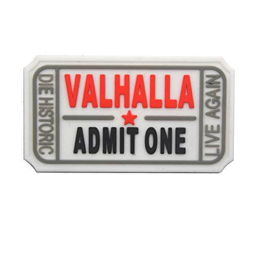 Valhalla Parche de PVC Admit One Die Historic Live Again 3D Tactical...