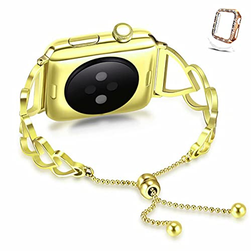 Compatible with Apple Watch Band 38mm 40mm 42mm 44mm + Case, Women adjustable Dressy Heart-shaped Stainless Steel Wristband Strap for iWatch Series SE 6 5 4 3 2 1