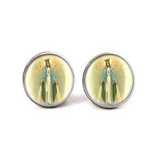 Gemelos de medalla de Virgen María, joyería de cristal, joyería para fotos
