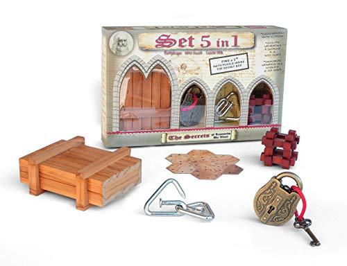 LOGICA GIOCHI Art. Set 5 in 1 - Set Rompicapo in Legno e Metallo - 2 Rompicapo in Legno + 2 in Ferro + 1 Matematico - Cofanetto Leonardo da Vinci