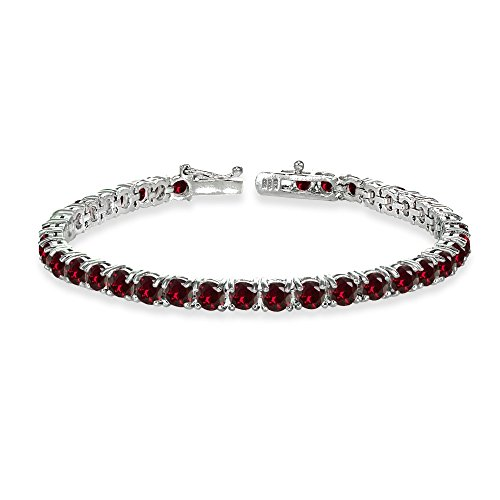 GemStar USA Sterling Silver 4mm Synthetic Ruby Round-Cut Tennis Bracelet