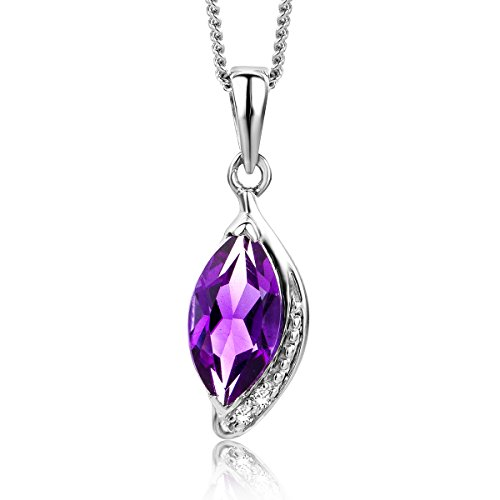 Miore - Purple diamond and amethyst necklace for women - 9 carat white gold chain and pendant (375) - 45 cm