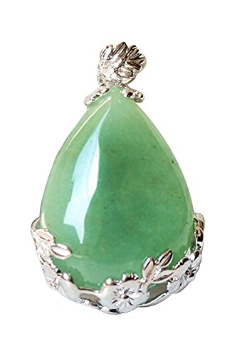 TOOGOO Mujeres angel Lagrimas Agua Gota Semi-Preciosas Piedras Colgante - Aventurina Verde