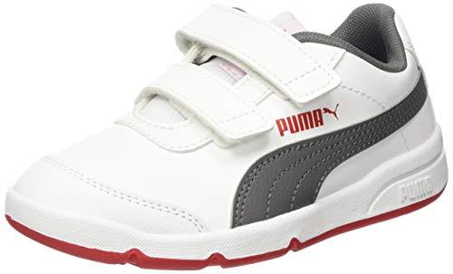 PUMA STEPFLEEX 2 SL VE V PS, Zapatillas Unisex niños, Blanco White/Castlerock/High Risk Red, 35 EU
