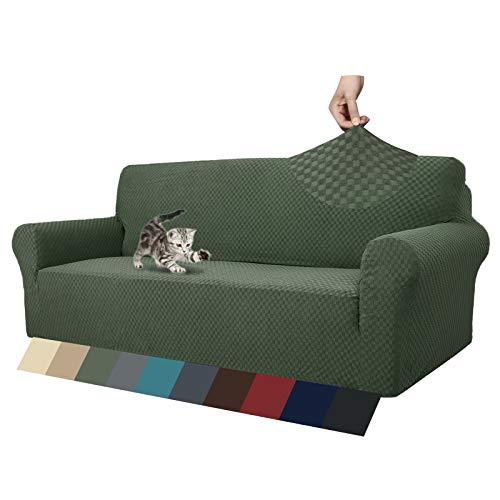 MAXIJIN Fodere per divani più recenti per 3 posti, Fodera per Divano Jacquard Elasticizzata per Cani Fodere per mobili in 1 Pezzo Elastiche per Animali Domestici (3 Posto, Army Green)