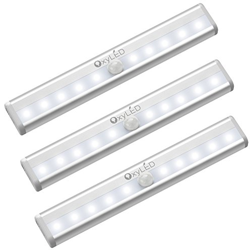 OxyLED Luci per armadio sensore di movimento,Illuminazione wireless sotto l'armadio,Stick on Anywhere Wireless a batteria 10 LED Night Light Bar,Luci di sicurezza per armadio Armadio Scale,3 pezzi