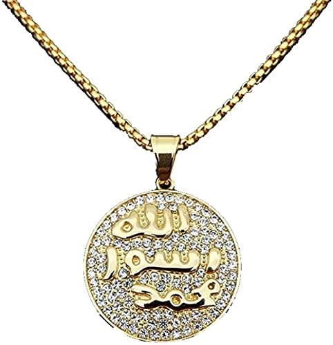 NC198 Hip Hop Iced out Allah Collar con Colgante de Acero Inoxidable Islam musulmán Collar Redondo joyería de Oro árabe 50 cm