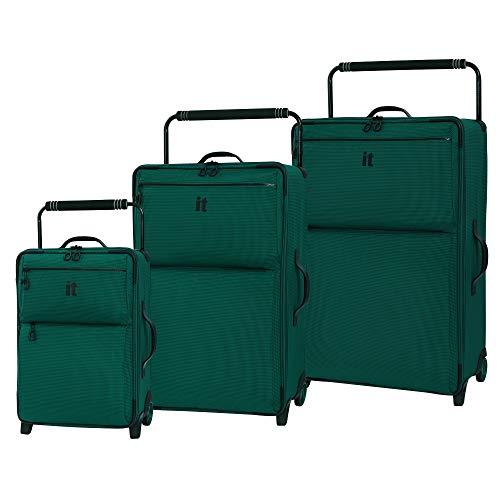 it luggage World's Lightest Los Angeles Softside Upright, Alpine Green, 3-Piece Set (22/29/32)