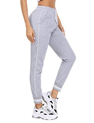 Akalnny Pantalones Deportivos para Mujer Pantalón de Chándal Largos Pantalones de Deporte con Cordones para Gimnasio Yoga Jogging (Gris, L)