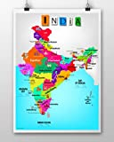 MULTIPURPOSE: This India Map for kids is versatile and Can be put up on walls, doors, cupboards and cubicles Colour : Multicolour PRINT: good quality matte finish paper  Lifespan: paper durability of 4 years   Colour durability : 24-28 months PACKAGI...