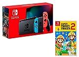 Console Nintendo Switch 32Gb Rouge/Bleu Néon + Manette Joy-Con droite/guche, support Joy-Con station d'accueil Nintendo Switch un câble HDMI, un adaptateur secteur Nintendo Switch - Une paire de dragonnes Joy-Con [Nouveau modèle V2] Amélioration de l...