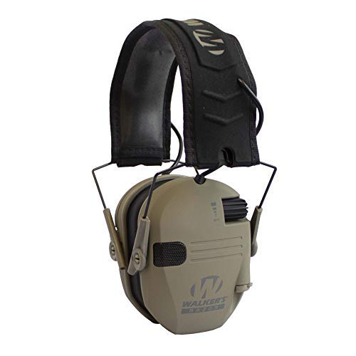 Walker's Razor Slim Shooter Electronic Hunting Folding Hearing Protection Earmuffs with 23dB Noise Reduction and Sound Amplification, Dark Earth