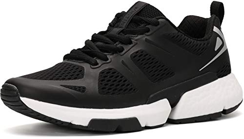 WHITIN Black Running Shoes for Women with Arch Support Size 8 Stylish Comfortable Cushioning Shock Absorbing Distance Flexible Light Low Top Lace Up Run Tenis Sneakers Black