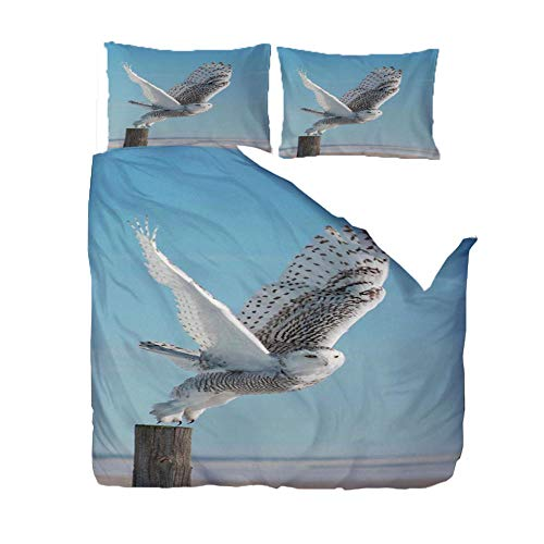 3-Piece Bedding Sets 260x220 CmAnimal White Eagle 3D Print Quilt Cover Duvet Cover Super Soft FashionTeenagers Comforter Cover, with 2 Pillowcase