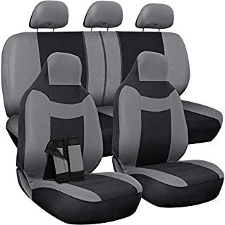 OxGord Car Seat Cover - Poly Cloth Two-Tone with Front Low Bucket and 50-50 or 60-40 Rear Split Bench - Universal Fit for Cars, Truck, SUV, Van - 10 pc Complete Set