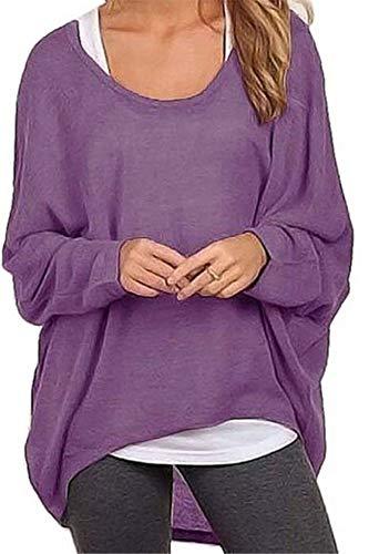 Meyison Damen Lose Asymmetrisch Sweatshirt Pullover Bluse Oberteile Oversized Tops T-Shirt Violett L