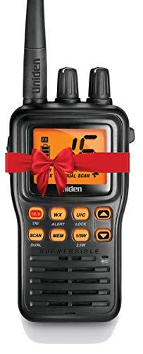 Uniden MHS75 Waterproof Handheld 2-Way VHF Marine radio, Submersible, Selectable 1/2.5/5 Watt Transmit Power. All USA/International and Canadian Marine Channels - Color Black