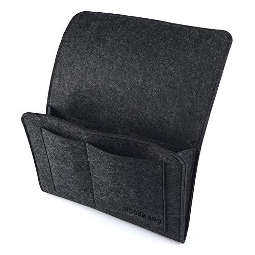 HOGAR AMO Dicke Filz-Bett-Caddy-Organizer Betttasche Sofa Hängeaufbewahrung für Handy, iPad, Brille, Buch, Fernbedienung, 4 Taschen & Seitenloch für Aufladungskabel 32 x 20cm (Schwarz)