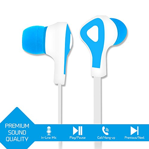 VEME VHS-350 Active Series Stereo Earbuds Tangle-Free Flat Cable Headset (Light Blue)