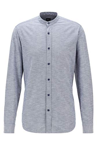BOSS Herren Race Regular-Fit Hemd aus angerauter Baumwolle mit Stehkragen