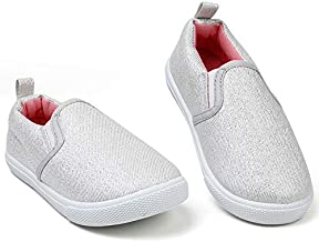 KIZWANT Toddler Girl Shoes Kids Slip on Sneakers Lightweight Cute Canvas Loafers School Light Grey/Silver/Pink 5 M US Toddler