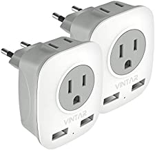 [2-Pack] European Adapter, VINTAR International Power Adaptor with 2 USB Ports,2 American Outlets- 4 in 1 European Plug Adapter for France, Germany, Greece, Italy, Israel, Spain (Type C)