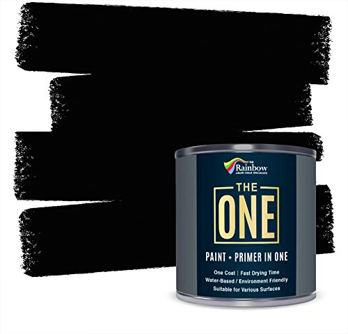 The ONE Paint Paint and Primer: Water Based House Paint with Primer for Wall, Ceiling, Bathroom, Kitchen, and More - Quick Drying Paint for Interior / Exterior Use - Black, Gloss Finish, 1 Liter