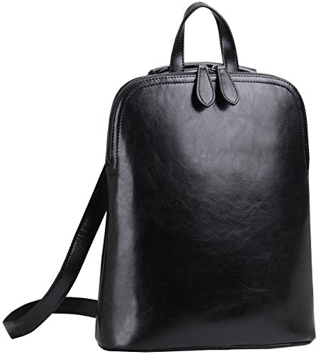 Heshe Women's Leather Backpack Casual Daypack for Ladies (Black-r)