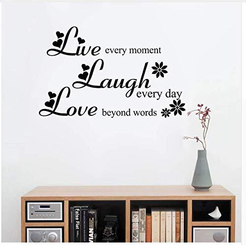 Ccfqiangtie Liebe Über Worte Lachen Jeden Tag Leben Jeden Moment Inspirierende Zitate Vinyl Abnehmbare Wandaufkleber Wohnzimmer Wohnkultur 37 * 60 Cm