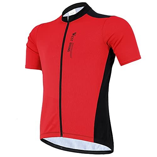 West Biking Herren Radtrikot Kurzarm, Fahrradtrikot Radsport T-Shirt mit 3 Rückentaschen, Atmungsaktives Sommer Fahrrad Trikot Schnelltrockend Trek Radtrikot Fahrradbekleidung, Rot, XXL