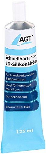 AGT Silikon schnellhärtend: Schnellhärtender 3D-Silikonkleber, transparent, 125 ml (Kleber schnellhärtend)